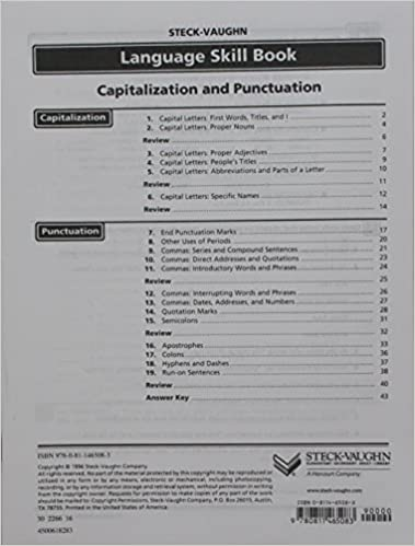 Steck-Vaughn Language Skill Books: Student Edition Capitalization ...