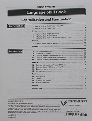 Steck-Vaughn Language Skill Books: Student Edition Capitalization, Punctuation Review