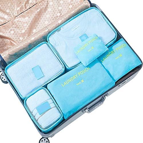 荷物旅行パッキングオーガナイザー6個、パッキングキューブ旅行収納袋荷物旅行キューブ衣類選別パッケージ軽量,A