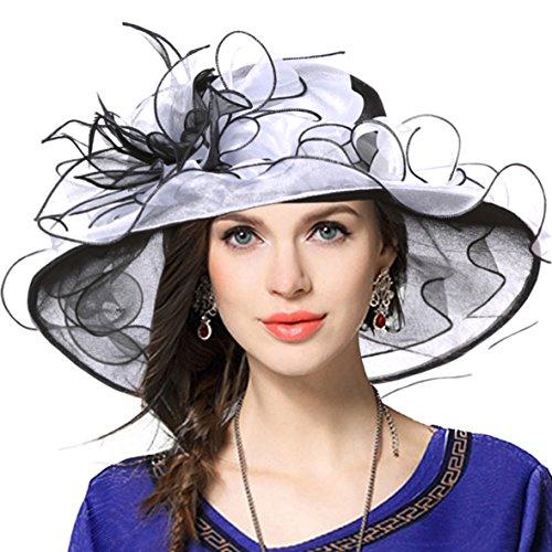 VECRY Women Church Derby Hats Tea Party Bridal Dress Wedding Hat (Black/White)]()