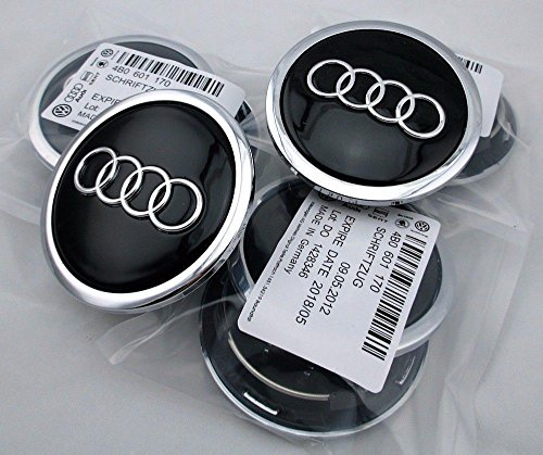 (4x) 2002-2016 Audi BLACK Center Caps 70mm Hub Caps FITS NEARLY ALL MODELS