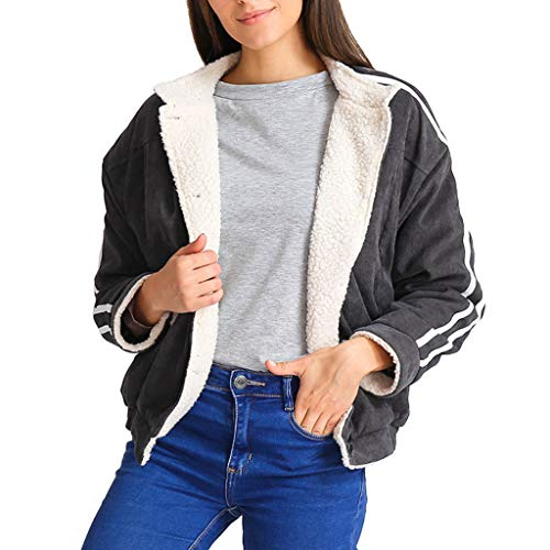 Cardigan Single (Clearance! MatureGirl Cloak Women Solid Open Front Pockets Cardigan Warm Striped Sleeve Button Down Coat (Black, Medium))