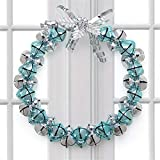 YJYDADA Christmas Bell Wreath Bowknot Jingle Bell Rings Pendant for Christmas Home Decor (A)
