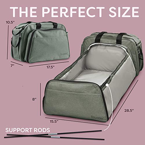 3-1 Travel Bassinet - Portable Baby Bed for Baby Includes Soft Diaper Pad and is Great for Trips Or Outdoors Hooks on Stroller Easily