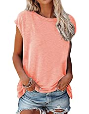 TARIENDY Solid Color Tees for Women Casual Summer Tops Short Sleeve Blouse Round Neck T Shirt