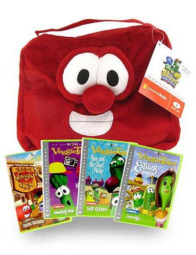 Veggie Tales 4 DVD Bible Collection + Red Plush Bible Cover (With Zipper) ()