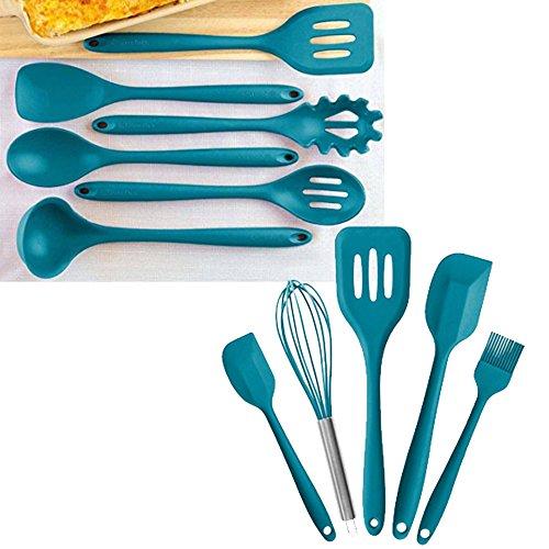 StarPack Value Bundle 0027-6-Pc XL Silicone Kitchen Utensils (13.5) and 5-Pc Silicone Kitchen Utensils (10.6) - Teal Blue