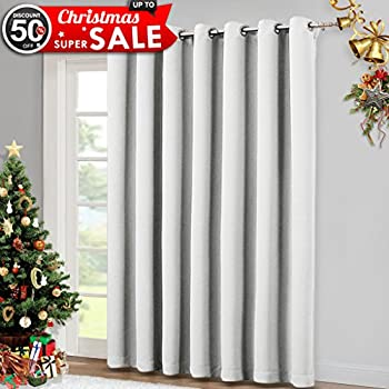 Vertical Blinds For Sling Door Window   Silver Grommet Top Blackout Curtains,  Privacy Blinds For