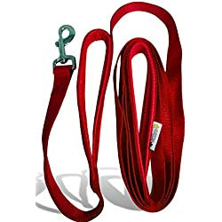 2 Handles Dog Leash - 8FT 2Inch Red Dual Handle Dog Leash - FREE Bonus Dog Tag - Dog Leashes For Large Dogs Heavy Duty - Leash For Dogs Who Pull - Dog Leash Large Heavy Duty
