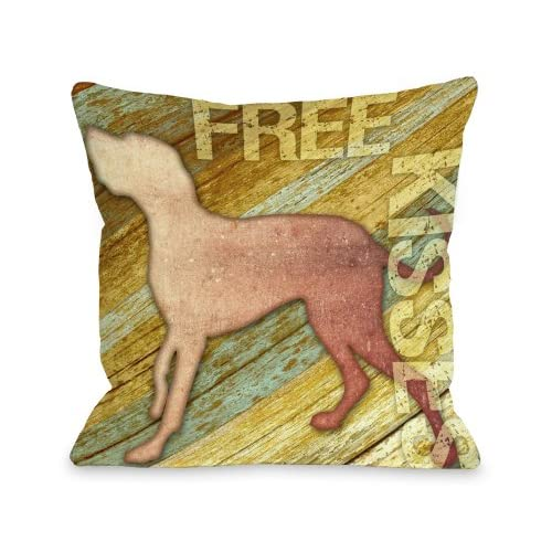 One Bella Casa Free Kises Wood Throw Pillow, 16 by 16-Inch