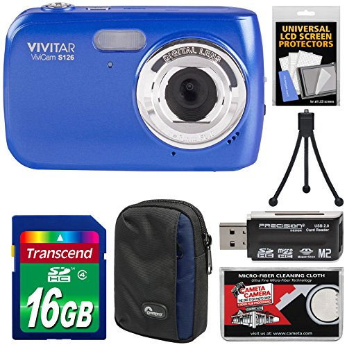Vivitar ViviCam S126 Digital Camera (Blue) with 16GB Card + Case + Mini Tripod + Reader + Kit by Vivitar