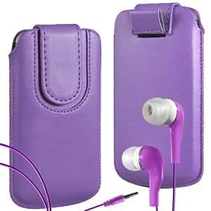 N4U Online Premium PU tirón del cuero del tirón del caso Tab cubierta de bolsa Con magnética Cierre de correa y juego Earbud Auriculares para HTC Desire X - Púrpura