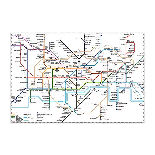 VEZEFOR Placemats,Detailed Map of London Underground Table Mats Non-Slip Washable Place Mats,Heat Resistant Kitchen Tablemats for Dining Table -