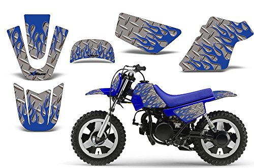 Diamond Flames-AMRRACING MX Graphics decal kit fits Yamaha PW50 All years-Blue-Silver-BG