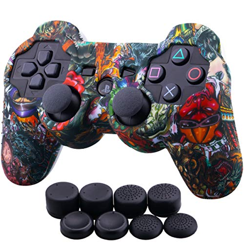 (9CDeer 1 Piece of Silicone Water Transfer Protective Sleeve Case Cover Skin + 8 Thumb Grips Analog Caps for PS3 Controller, Monsters)