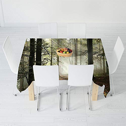- TecBillion No Fading Tablecloth,Farm House Decor,for Table Outdoor Picnic Holiday Dinner,90.2 X 72 Inch,Dark Forest Route Surrounded by Fog in