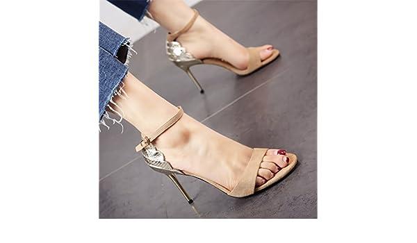 GTVERNH Expuestos Los Dedos De Los Pies Hebillas Delgada Tacones 9Cm  Tacones Altos Empalme Serpiente Modelos Sandalias De Mujeres Verano Treinta  Y Seis ... 42466b32c70f