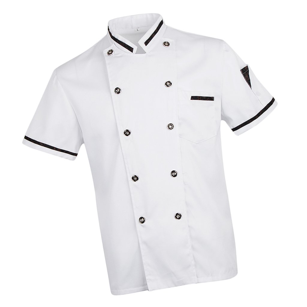Baoblaze White Summer Chef Jacket Coat Food Service Uniform Short Sleeves Shirt for Men Women - White, L