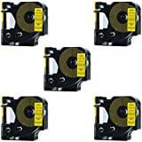 DYMO 45018 Label Tape, LaBold 5 Pack Black on Yellow Label Tape Cartridge Compatible for DYMO Standard D1 45018 Label Manager 1/2'' x 23' (12mm x 7m)