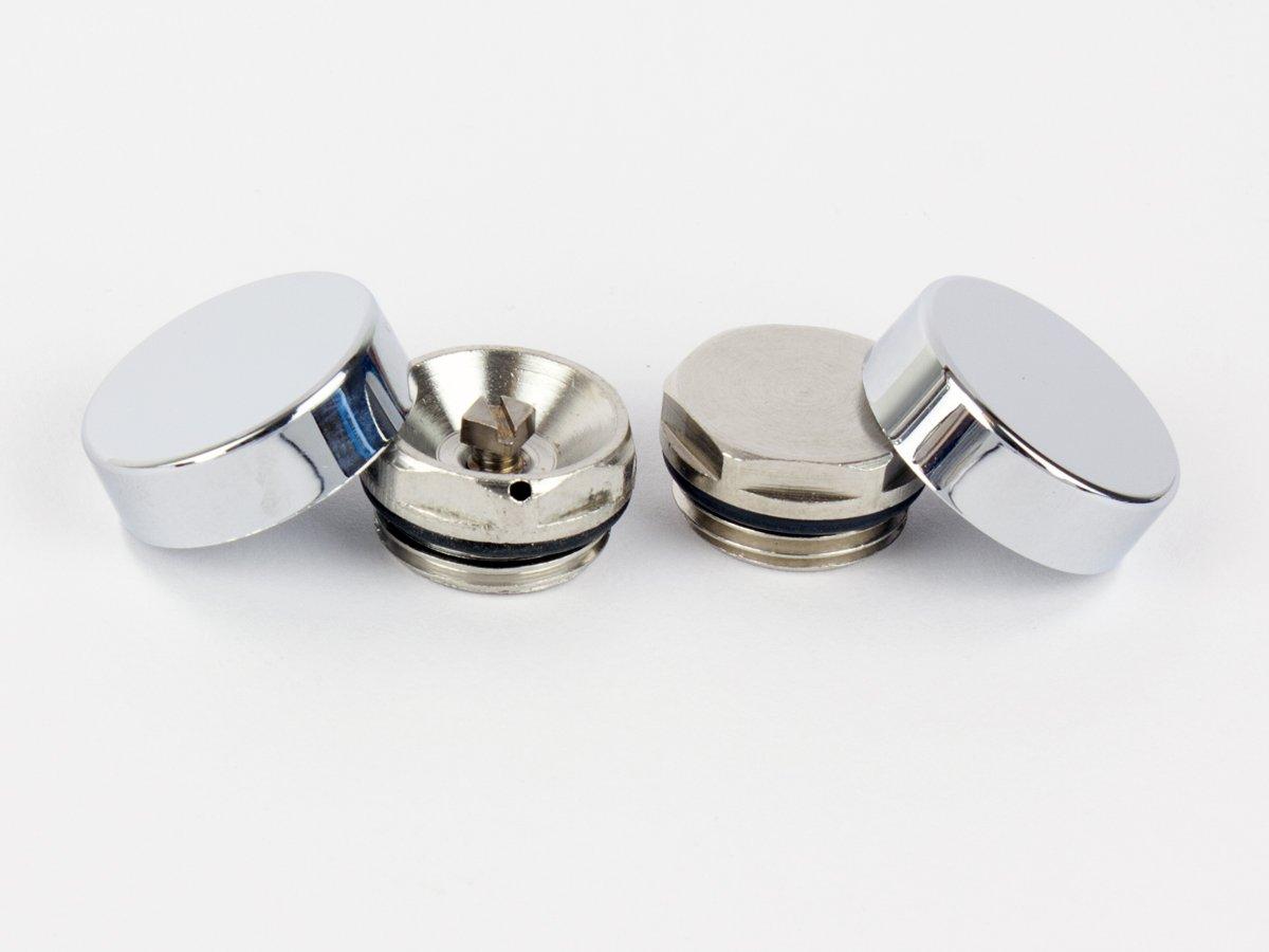 V/álvula de Purga 2 Tapas de Cromo para Radiador Toallero Tapa Ciega y Ventila de Aire