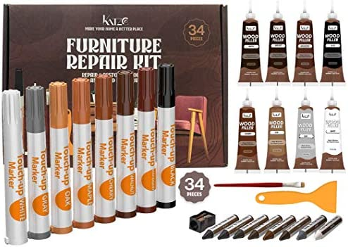 Katzco Total Furniture Repair Kit - Set of 34 - Resin Repair Wood Filler, Brushes, Markers with Plastic Scraper - for Stains, Scratches, Wood Floors, Tables, Desks, Carpenters, Bedposts