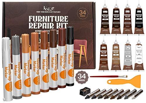 Katzco Total Furniture Repair Kit – Set of 34 – Resin Repair Wood Filler, Brushes, Markers with Plastic Scraper – for…