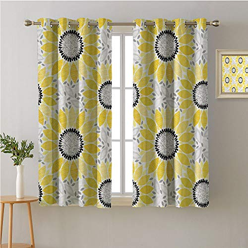 Jinguizi Sunflower Fabric The Yard Grommet Darkening/Blackout,Abstract Shapes Floral Pattern Stripe Petals Summer Blossom Illustration,Print Darkening Curtains,96W x 72L