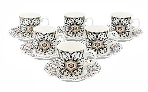 Demitasse Cup Saucer - Porcelain Bone China Espresso Turkish Coffee Set of 6 Demitasse Cups + Saucers (Black + Gold)