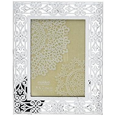 Malden International Designs Pierced Shabby White Metal Picture Frame, 5 X 7