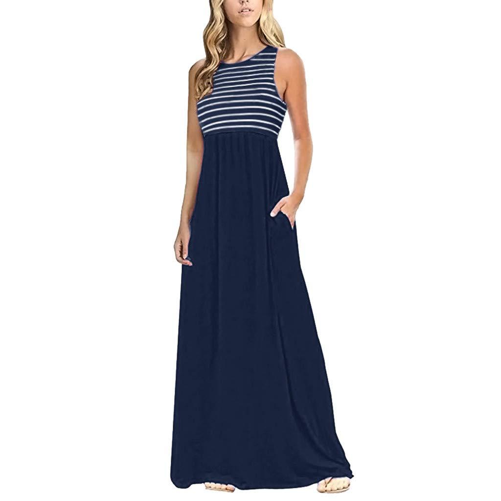 Women Racerback Striped Maxi Dress Summer Sleeveless Crew Neck Casual Tank Top Long Dress with Pockets