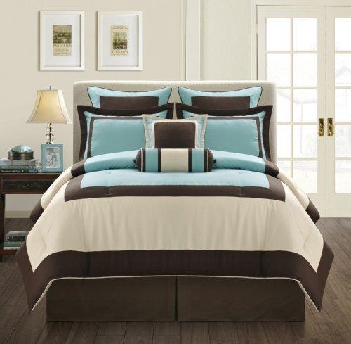 Fashion Street Gramercy 8-Piece Comforter Set, Queen, Aqua/Brown (Blue Brown And Queen Comforter Sets)
