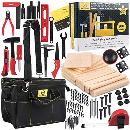 Maluvrian Creative Learning STEM Toys: Educational Building Toys for Boys and Girls - Kids Engineering and Construction Toy Set with Child Safe Plastic Tools and 18 Foam Wood Pieces - 90+ Piece Kit]()