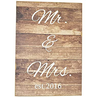 Mr and Mrs Est 2016 Decorative Wood Slat Sign-- Perfect Wedding Photo Prop or Gift!!!