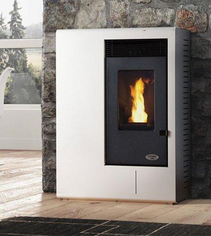 Estufa a PELLAS karmek One Ibiza de 10,51 kW de aire de ventilación de acero, blanco: Amazon.es: Hogar