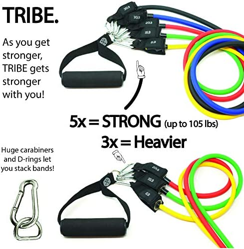 Tribe 11PC Premium Resistance Bands Set, Workout Bands - with Door Anchor, Handles and Ankle Straps - Stackable Up To 105 lbs - For Resistance Training, Physical Therapy, Home Workouts, Yoga, Pilates 3