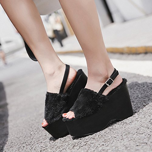 Womens Toe High Easemax Heel Buckle Black Sexy Platform Peep Slingback Sandals Strap Wedge Fluffy awfxwp