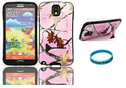 Wireless Fones TM Ultra Shock Absorbent Tough Grip Pink Camo Mossy Kickstand Case For Samsung Galaxy Note 3