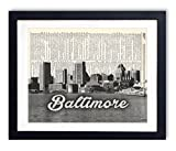 Baltimore Skyline With Script Name Dictionary Art print 8x10