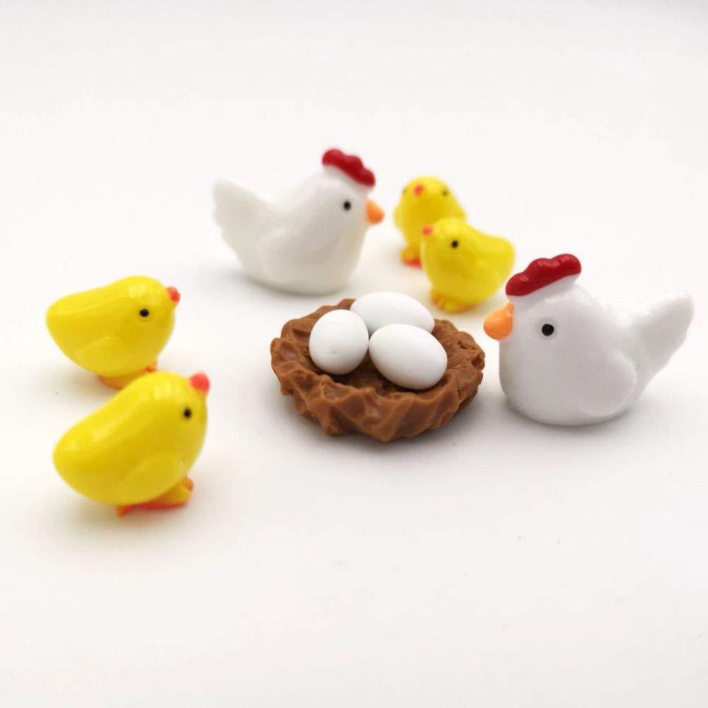 Giallo 10 Pezzi 2,5 x 2 cm Pulcino 1,6 x 1,4 cm Decorazione da Giardino Gallina Armena Set di Miniature di Animali Uovo Bianco Nido di Gallina Pulcini Marrone