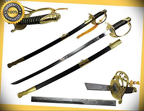 (39'' Civil War CSA Officer Gold Replica Sword Thanksgiving Xmas Decor perfect for cosplay outdoor camping)