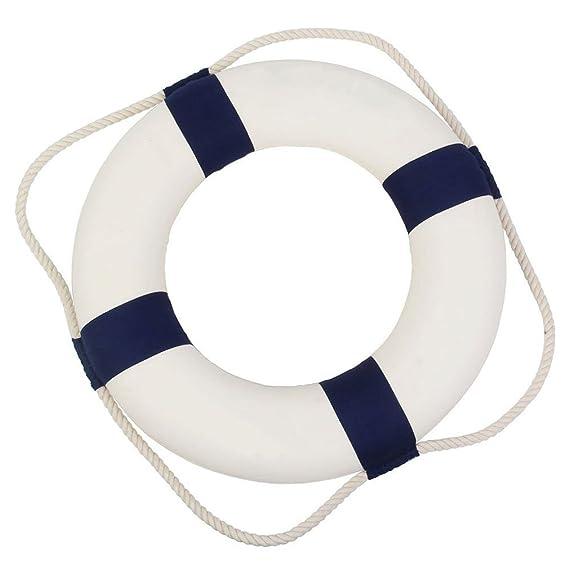 Forma de flotador de salvamento con estilo náutico para decoración de casa o adornos decoración de la pared, azul, 14 cm: Amazon.es: Hogar