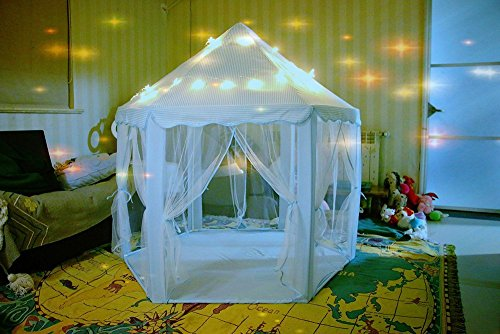 Miyaya Princess Fairy Tale Castle Play Tent,Portable Fun Perfect Hexagon Playhouse Toys with LED Lights(X-Large,Blue) - Fairy Tale Tent