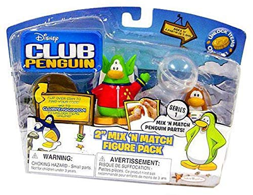 Disney's Club Penguin Series 1 Mix 'N Match 2 Inch Mini Figure 2-Pack Space Alien and Spaceman by Jakks ()