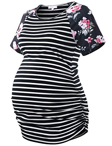 - Bhome Maternity T Shirt Baseball Crew Neck Raglan Sleeve Pregnancy Top Black Striped with Floral Sleeves XXL
