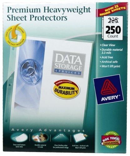 Avery Top Loading Clear Sheet Protectors, Heavyweight, 250 per Box #76006 (2 Pack)