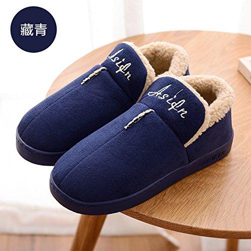 DogHaccd pantofole,Autunno Inverno home pacchetto soggiorno con cotone pantofole piscina calda con spessa di colore solido uomini e donne matura anti-slittamento pantofole,Blu scuro39-40