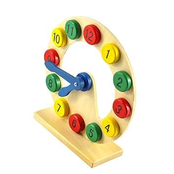 Madera Niños Aprenden Los Números Digitales De Reloj De Tiempo De Juguete Educativo: Amazon.es: Juguetes y juegos