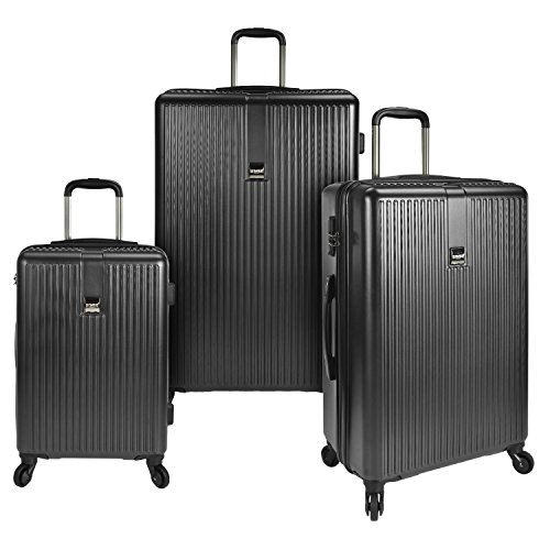 Travelers Choice 21 Inch - U.S. Traveler Sparta 3-Piece Super Lightweight Hardside 4-Wheel Spinner Luggage Collection with Diamond Cut Texture Finish & Combination Lock, Charcoal (21