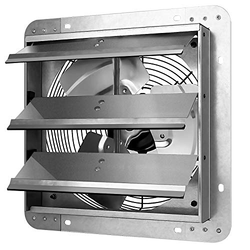 iPower 12 Inch Shutter Exhaust Fan Aluminum,High Speed, Silver