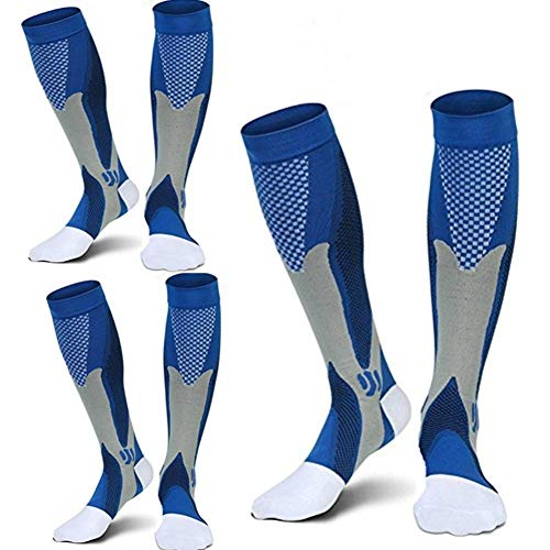 3 Pairs Medical&Althetic Compression Socks for Men, 20-30 mmHg Nursing Performance Socks for Edema, Diabetic, Varicose Veins,Shin Splints,Running Marathon (3Blue)